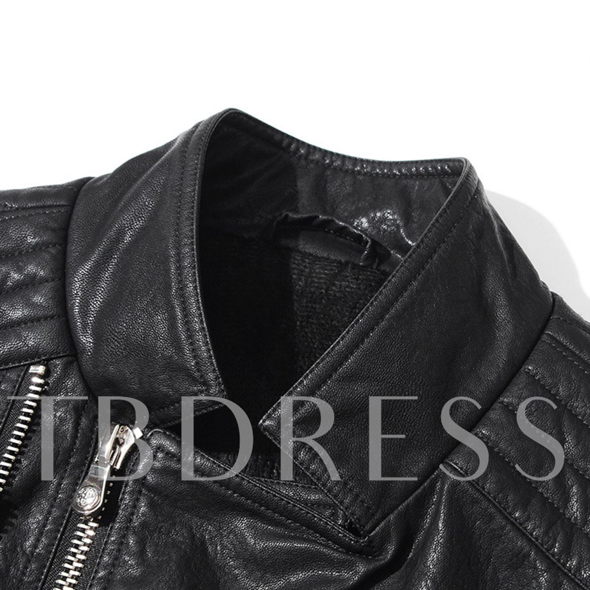 Stand Collar Plain Slim Zipper Men's PU Jacket