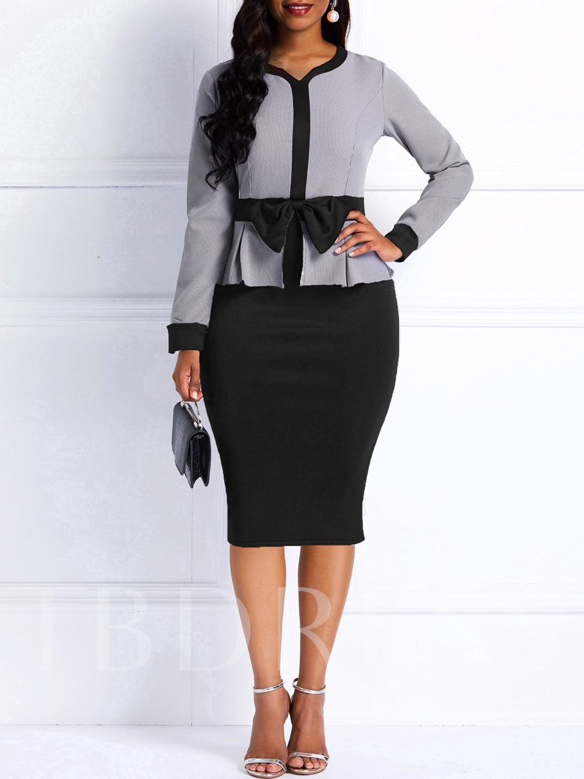 Bowknot Patchwork Long Sleeve Women's Bodycon Dress