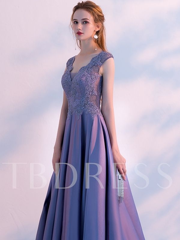 A-Line Cap Sleeves Appliques Beading V-Neck Evening Dress 2019