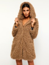 Fluffy Hidden Button Dual Pockets Teddy Women's Overcoat