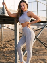 Workout Suit Screw Thread Breathable Slim Sports Set for Women