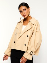 Loose Notched Lapel Double-Breasted Camel Coat Women's Jacket
