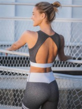 Workout Suit Color Block Backless Anti-Sweat Sports Set for Women