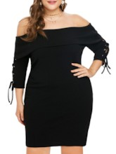 Plus Size Sexy Bodycon Lace-Up Women's Sweater Dress