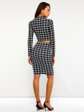Print T-Shirt Plaid Sexy Bodycon Skirt Women's Two Piece Set