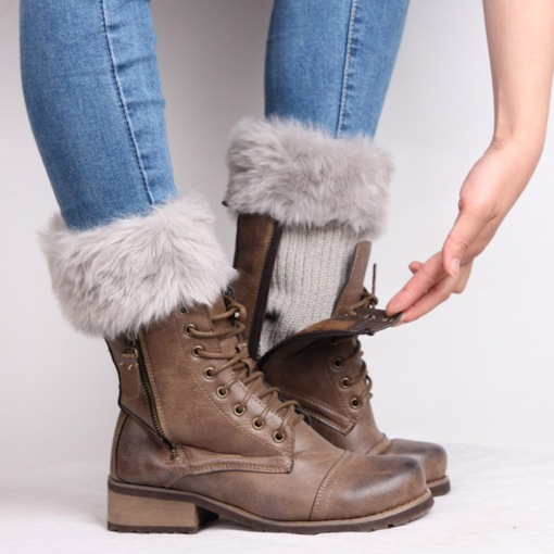 Warmth Ribbed Boot Cuffs with Imitation Fur