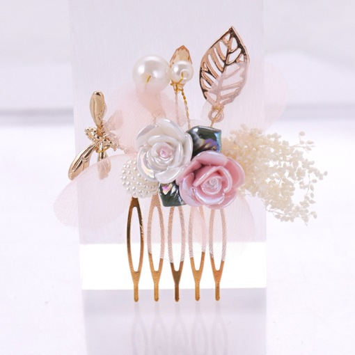 Rhinestone Decorated Floral Wedding Hair Comb