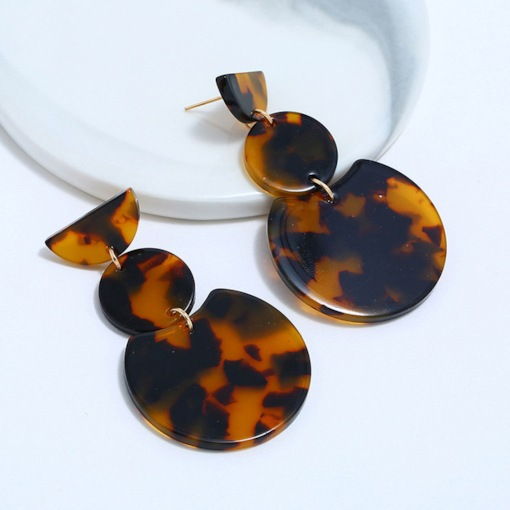 Vintage Leopard Pattern Geometric Drop Earrings