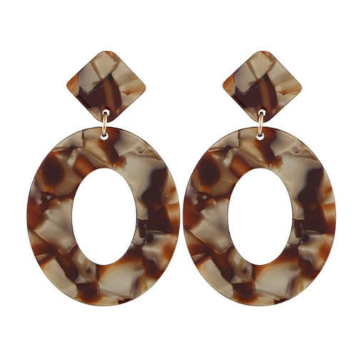 Hollow Oval Cut Acetate Plate Drop Earrings