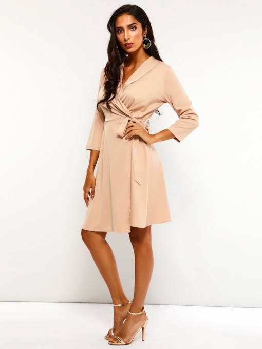 Knee-Length Pullover Lace-Up Women's Long Sleeve Dress