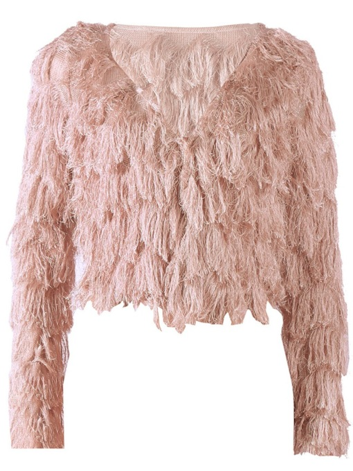 Thick Tassel Faux Fur Women's Cardigan