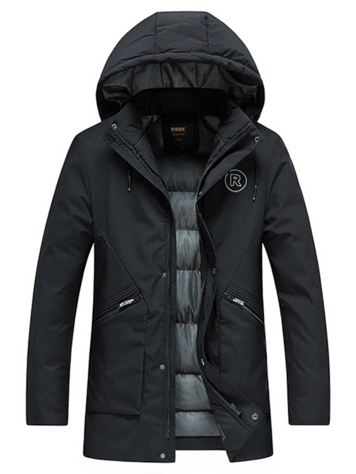 Mid-Length Plain Thick Straight Zipper Men's Down Jacket