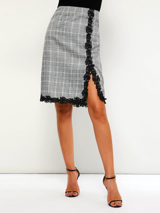 High-Waist A-Line Split Houndstooth Women's Skirt