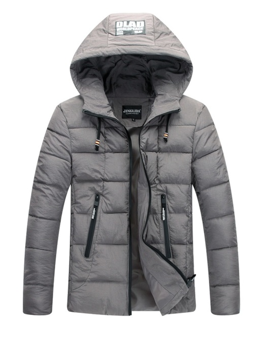 Thick Plain Straight Hooded Zipper Men's Down Jacket