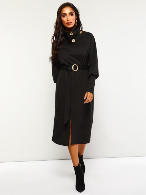 Button Heap Collar Women's Long Sleeve Dress