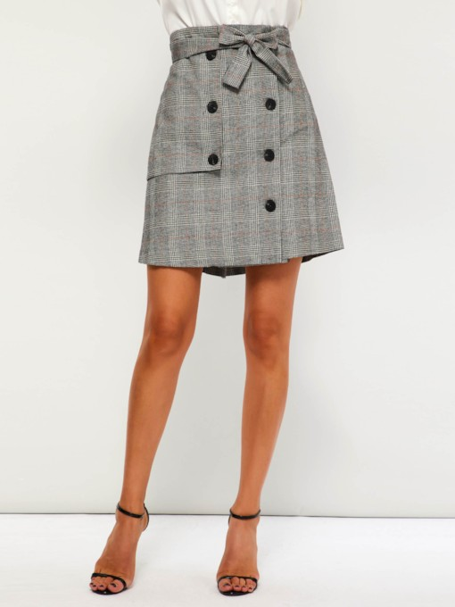Button Bodycon High-Waist Plaid Women's Mini Skirt