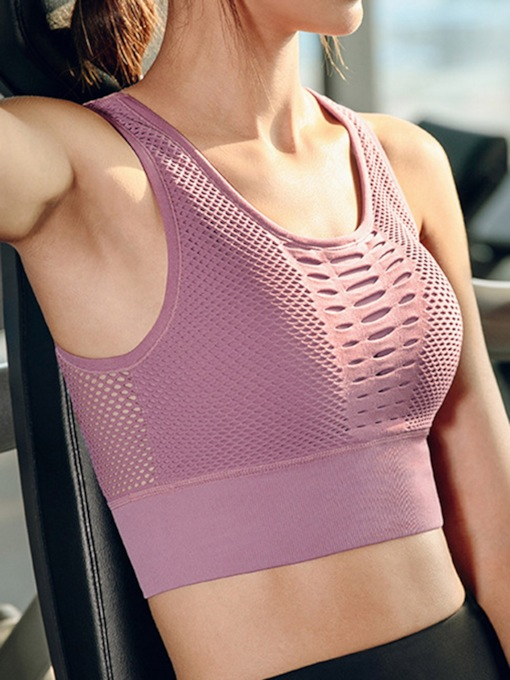 Plain Push Up Non-Adjusted Straps Breathable Women's Sports Bra