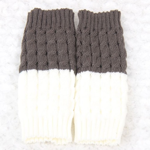 Gray and Ivory Reversible Knitted Boot Cuffs