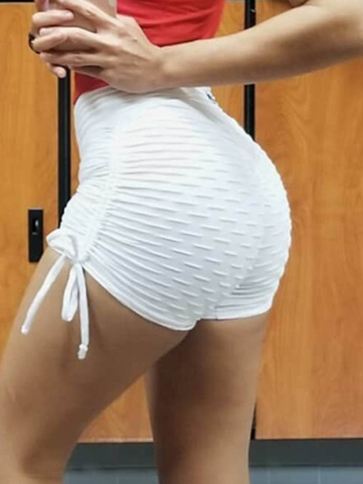 Cotton Breathable Lace-Up Solid Sports Shorts for Women