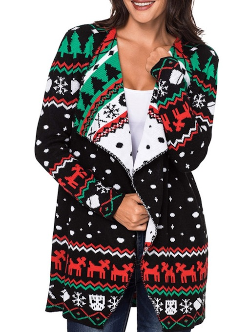 Christmas Print Color Block Wrapped Women's Cardigan