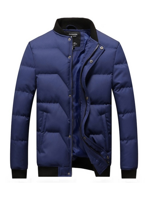 Stand Collar Straight Thick Zipper Men's Down Jacket