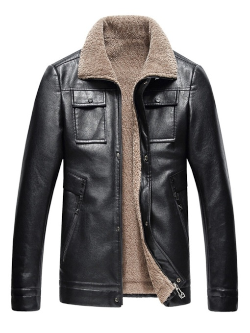 Plain Lapel Plus Fur Leather Jacket