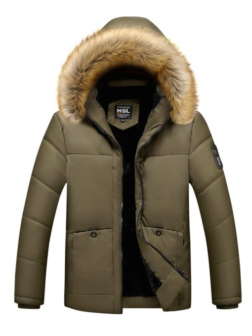 Thick Straight Plain Fur Hooded Men's Down Jacket