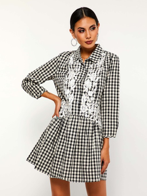 Single-Breasted Patchwork Casual Women's Long Sleeve Dress