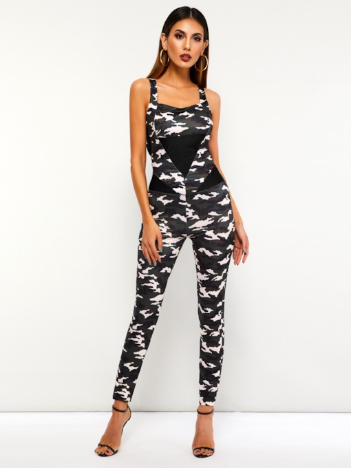 Patchwork Casual Full Length Camouflage Slim Women's Jumpsuits