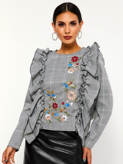 Houndstooth Floral Embroidery Falbala Women's Blouse