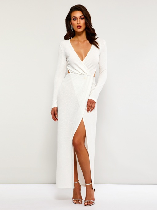 Elegant Long Sleeve V-Neck Women's Maxi Dress