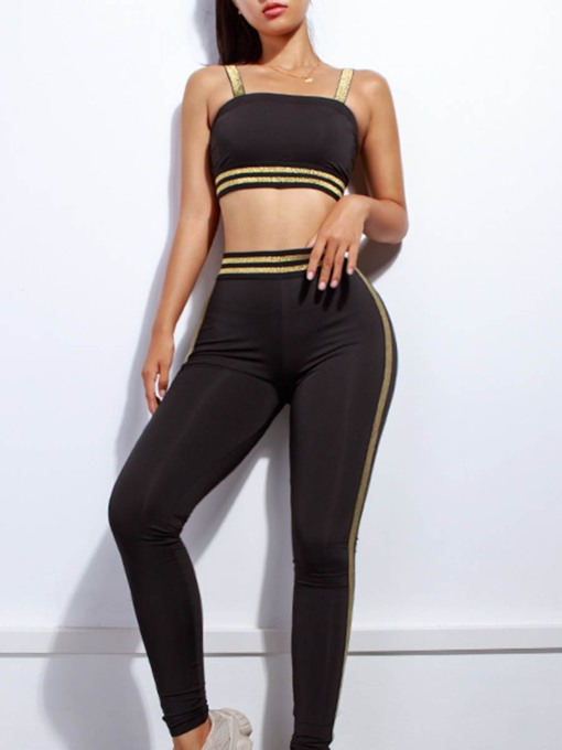 Workout Suit Stripe Breathable Slim Sports Set for Women