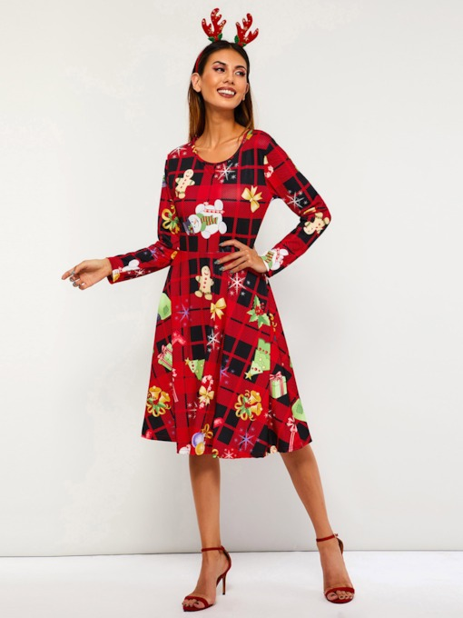 Round Neck Print A-Line Women's Long Sleeve Dress