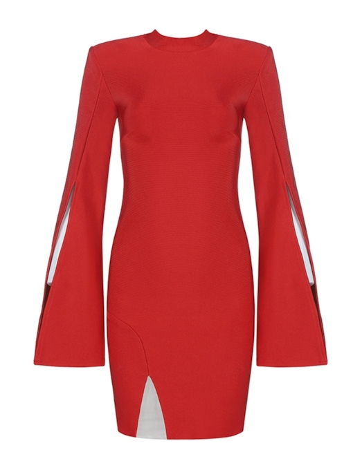 Zipper Stand Collar Long Sleeve Women's Bodycon Dress