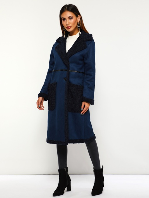 Dual Pockets Notched Lapel Women's Overcoat