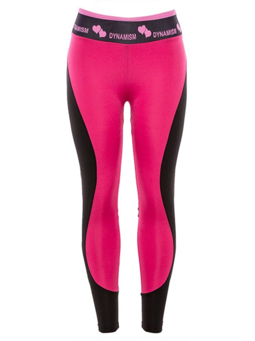 Letter Color Block Full Length Sports Leggings for Women