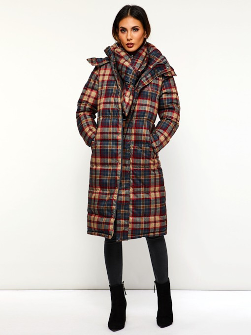 Color Block Plaid Hooded Long Women's Cotton Padded Jacket