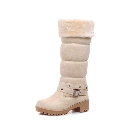 Plain Slip-On Round Toe Chunky Heel Short Floss Women's Snow Boots
