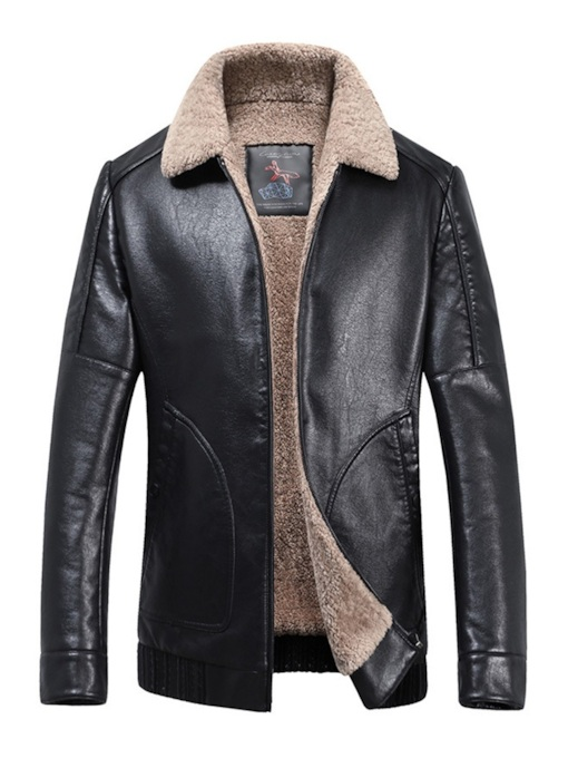 Straight Lapel Zipper Stan Plus Fur Men's Leather Jacket