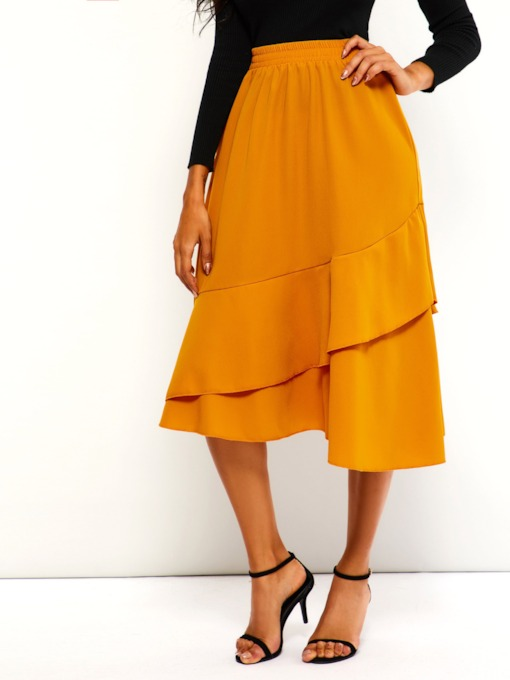 Mid-Calf Asymmetric High-Waist A-Line Plain Women's Skirt