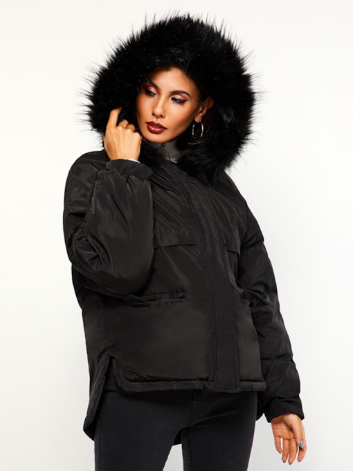 Plain Faux Fur Hooded Winter Women's Overcoat