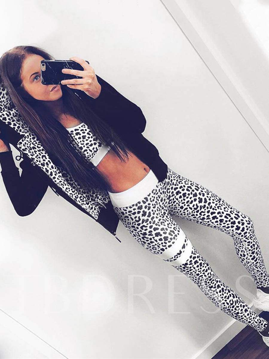 Workout Suit Leopard Breathable Sleeveless Pullover Women's Sports Set