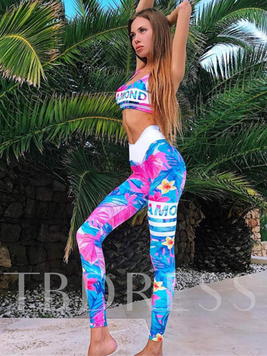 Workout Suit Floral Breathable Sleeveless Women's Sports Set