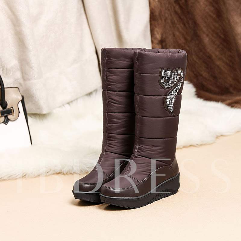7accad4ecc36 Round Toe Slip-On Plain Wedge Heel Casual Women s Snow Boots. Sold Out