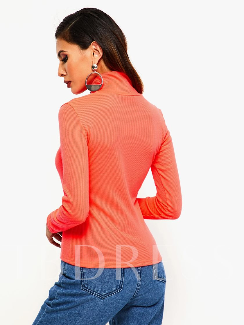 Slim Turtleneck Plain Women's Sweater