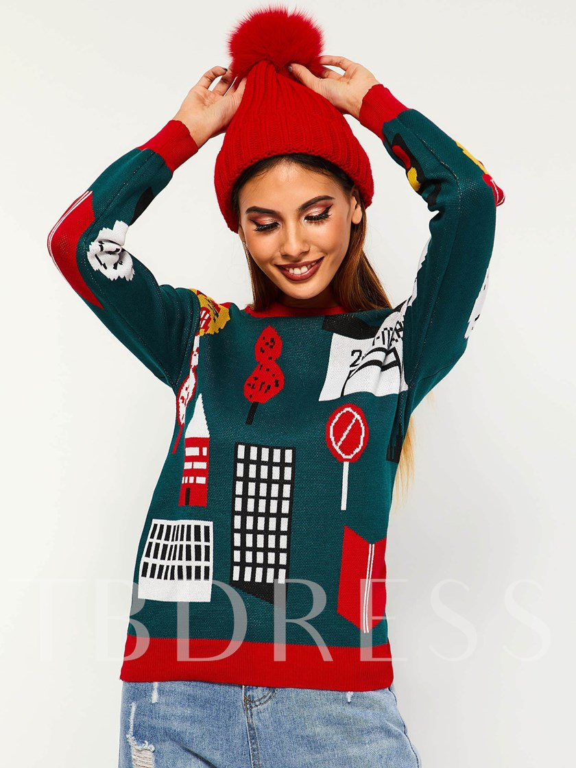 Color Block Cartoon Print Women's Sweater