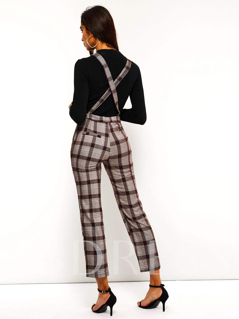 Full Length Suspenders Plaid Casual Straight Women's Jumpsuits
