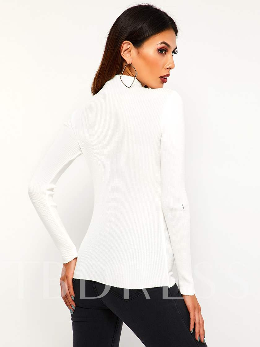 Slim Stand Collar Zipper Women's Sweater