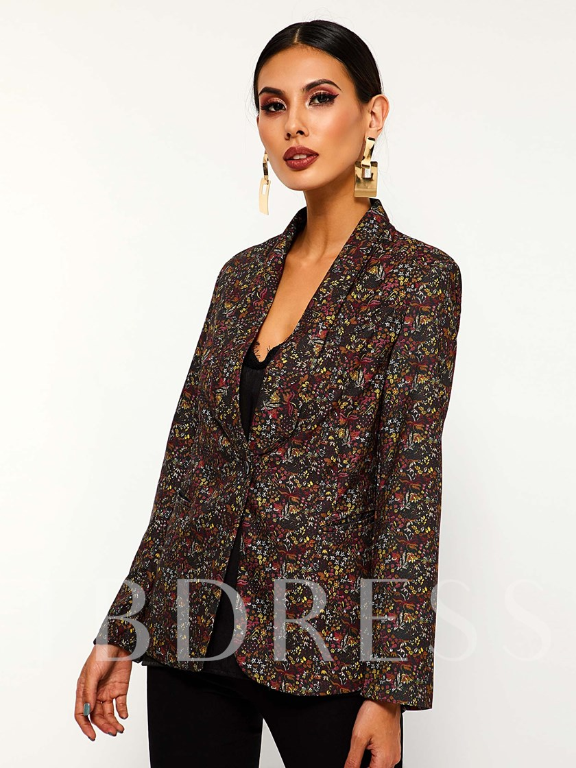 Shawl Collar Floral One Button Women's Blazer