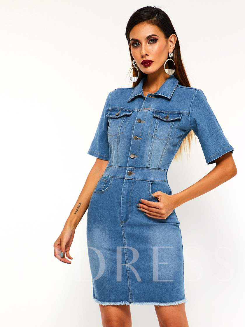Lapel Single-Breasted Short Sleeve Women's Day Dress
